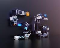 De slimme toestellen, de hommel, het autonome voertuig en de robot schikten in de tekst van ` 5G ` Stock Foto