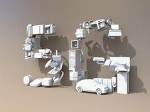 De slimme toestellen, de hommel, het autonome voertuig en de robot schikten in de tekst van ` 5G ` Stock Afbeeldingen
