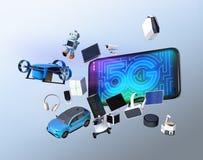 De slimme toestellen, de hommel, het autonome voertuig en de robot springen van slimme telefoon Stock Foto's