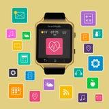 De slimme vertoning van het horlogeapparaat met app pictogrammen Geïsoleerd op gouden achtergrond royalty-vrije illustratie