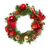 De slinger van Kerstmis met snuisterijen en linten Stock Foto's