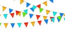 De slinger van de wimpelvlag De decoratie van de fiestacarnaval van de verjaardagspartij De slingers met kleur markeert 3d vector stock illustratie