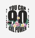 De slogan van de meisjesmacht met bloemenontwerpillustratie vector illustratie