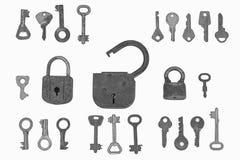 De sloten en de sleutels Stock Foto's