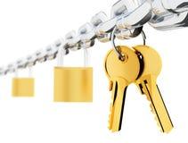 De sloten en de sleutels van de ketting stock illustratie