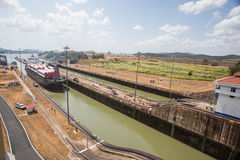 De Sloten van Miraflores, het Kanaal van Panama stock afbeelding