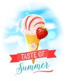 De smaak van de zomer Heldere kleurrijke affiche met de kegel van het aardbeiroomijs op de hemelachtergrond Royalty-vrije Stock Foto's