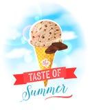 De smaak van de zomer Heldere kleurrijke affiche met de kegel van het chocoladeroomijs op de hemelachtergrond royalty-vrije illustratie