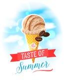 De smaak van de zomer Heldere kleurrijke affiche met de kegel van het koffieroomijs op de hemelachtergrond vector illustratie
