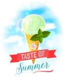 De smaak van de zomer Heldere kleurrijke affiche met de kegel van het muntroomijs op de hemelachtergrond vector illustratie