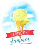 De smaak van de zomer Heldere kleurrijke affiche met de kegel van het pistacheroomijs op de hemelachtergrond vector illustratie