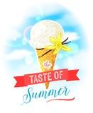 De smaak van de zomer Heldere kleurrijke affiche met de kegel van het vanilleroomijs op de hemelachtergrond stock illustratie