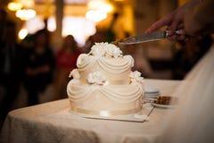 De smakelijke en heerlijke bruine en witte tiered huwelijkscake sneed a Stock Foto