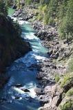 De Smalle Maatspoorweg van Durango aan Silverton die Rocky Mountains door de Rivier Animas in Colorado de V.S. doorneemt Stock Fotografie