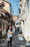 De smalle stegen van Shanghai China royalty-vrije stock afbeeldingen