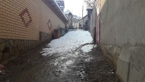 De smalle straten van de oude stad Stock Foto's