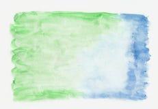 De smaragdgroene en azuurblauwe gemengde achtergrond van de waterverf horizontale gradiënt Royalty-vrije Stock Foto