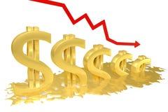 De smeltingen van de dollar Stock Afbeeldingen