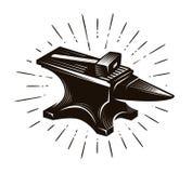 De smid, smeedt Aambeeld en hamer, vectorillustratie Royalty-vrije Stock Afbeeldingen