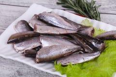 De snack van ansjovisvissen in de kom stock foto