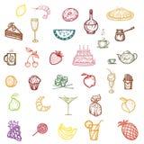 De snacks, het fruit en het dessert van kleurenpictogrammen vector illustratie