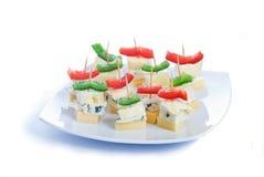 De snacks van de kaas met drie soorten kaas Royalty-vrije Stock Afbeelding