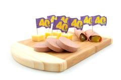 De snacks van de partij voor veertigste verjaardag Stock Fotografie