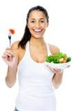 De snackvrouw van de salade Stock Afbeeldingen