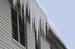 De sneeuw behandelde dak met lange ijskegels die over eaves-door hangen stock foto