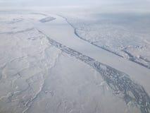 De sneeuw behandelde het noordpoolgebied Stock Foto's
