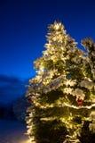 De sneeuw behandelde pijnboomboom met verlichting en rood Kerstmisornament van de glasbal, openlucht royalty-vrije stock afbeelding