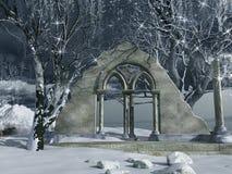 De sneeuw behandelde ruïnes Stock Foto's