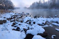 De sneeuw in de rivier Royalty-vrije Stock Foto