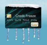 De sneeuw en het ijs op een creditcard illustreren het thema van het zetten van een vorst op uw kredietrapport royalty-vrije stock afbeeldingen