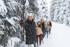 De Sneeuw Forest Young People Walking Outdoor mensen van de Hoofdvriendengroep Stock Afbeeldingen