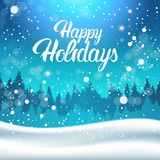 De Sneeuw Gelukkige Vakantie die van de winterforest landscape night with falling Achtergrond van letters voorzien vector illustratie