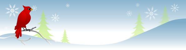 De sneeuw Kardinaal van de Scène van de Winter stock illustratie