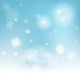 De sneeuw schilfert Achtergrond af toont Wintertijd of Royalty-vrije Stock Fotografie