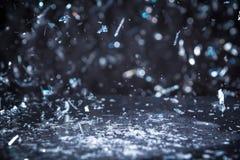 De sneeuw schittert Lichtenachtergrond Uitstekende Fonkeling Bokeh met Selec Stock Fotografie