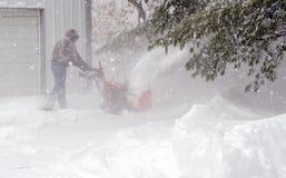 De sneeuw van de arbeidersopheldering Royalty-vrije Stock Foto's