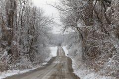De Sneeuw van de landweg Stock Afbeelding