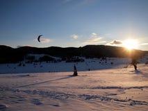 Het kiting van de sneeuw Stock Foto