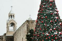 De sneeuw van Kerstmis in Bethlehem royalty-vrije stock foto's