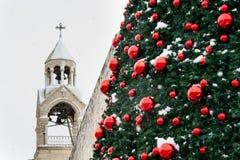 De sneeuw van Kerstmis in Bethlehem royalty-vrije stock foto