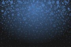 De sneeuw van Kerstmis Dalende sneeuwvlokken op diepe blauwe achtergrond sneeuw stock illustratie