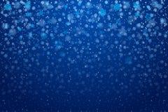 De sneeuw van Kerstmis Dalende sneeuwvlokken op diepe blauwe achtergrond sneeuw vector illustratie