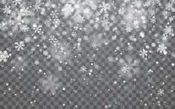 De sneeuw van Kerstmis Dalende sneeuwvlokken op donkere achtergrond sneeuwval Vector illustratie royalty-vrije illustratie