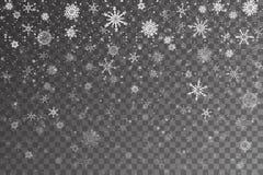 De sneeuw van Kerstmis Dalende sneeuwvlokken op transparante achtergrond stock illustratie