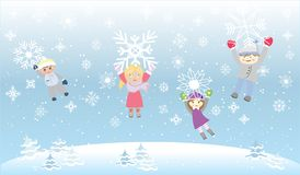 De Sneeuw van Playiong van jonge geitjeskinderen schilfert Sneeuwvlokken af Royalty-vrije Stock Fotografie