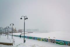 De sneeuw van de de winterpromenade Stock Foto